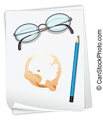 Paper and coffee stain - Illustration of papers and coffee...