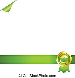 Paper And Eco Award Ribbon, Isolated On White Background,...