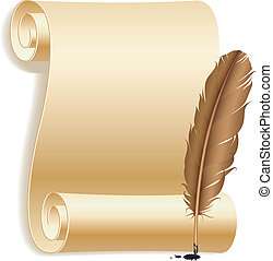 Paper and feather. - Old paper scroll and feather.