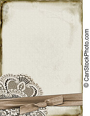 Paper and Lace - Textured paper with lace and ribbon...