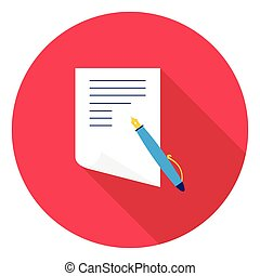Paper and pen icon in flat style isolated on white background. School symbol stock vector illustration.