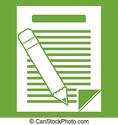 Paper and pencil icon green