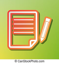 Paper and pencil sign. Contrast icon with reddish stroke on green backgound.