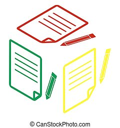 Paper and pencil sign. Isometric style of red, green and yellow icon.