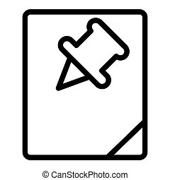 Paper and pin line icon. Note with paper push vector illustration isolated on white. Paper sheet and pin outline style design, designed for web and app. Eps 10.