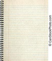 paper., anteckningsbok, gammal, sida, fodra