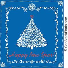 Paper applique for New Year holiday with cut out paper fir...
