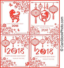Paper applique greeting card collection for 2018 Chinese New Year with red floral decorative pattern, hanging lantern, hierogliph and cut out funny puppy