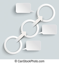 Paper Arrow 3 Rings Speech Bubbles - White paper arrows with...