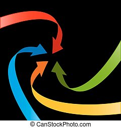 Paper Arrow on Black Background. Vector Colorful Arrows.