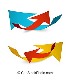 Paper Arrows Isolated on White Background. Vector Up and Down Arrow Symbol.