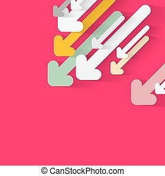 Paper Arrows on Pink Vector Background