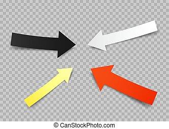 paper arrows set transparent background