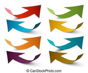Paper Arrows. Vector Colorful Arrow Set.