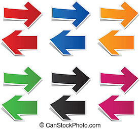 Paper arrows. - Vector illustration of sticky collection of ...