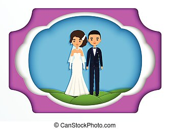Paper art background with bride and groom. Vector.