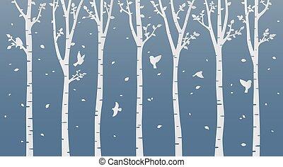 Paper art birch tree on blue background