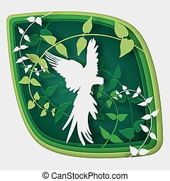 Paper art carve to bird on tree branch in forest at night, origami concept nature and animals idea, vector art and illustration.