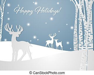 Paper art carving of deers on the snow hill near the tree under snowflake and Happy Holidays! text.