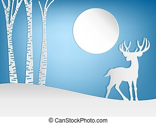 Paper art carving of male deer on the hill.
