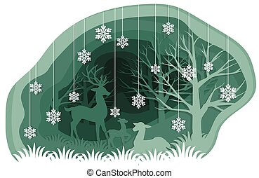 Paper art carving with the family of deers in the forest under snowflakes.