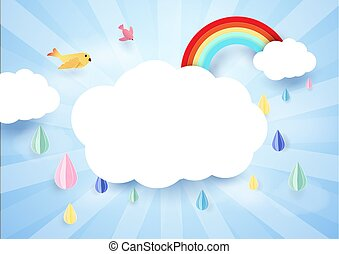 Paper art concept. Rainy and cloud with rainbow. Rainy season background