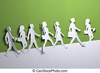 Paper Art - Crowd Of People Background
