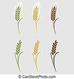 Paper art cut stickers Ears of wheat. Vector illustration icons