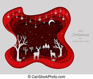 Paper art design with deers family and snowflakes on red abstract background,Icons of winter season for Christmas holiday,celebration party,greeting card or happy new year