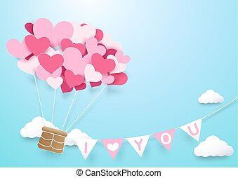 Paper art heart shape balloon with garland. Love conept background