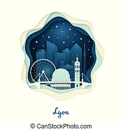 Paper art illustration of Lyon. Origami concept.