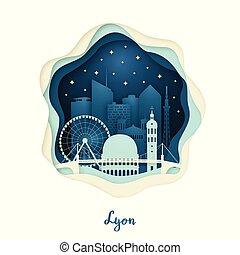 Paper art illustration of Lyon. Origami concept.