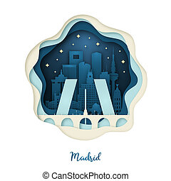 Paper art illustration of Madrid. Origami concept. Night city with stars.