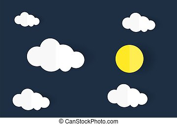 Paper art in white cloud and full moon shape on dark blue sky background