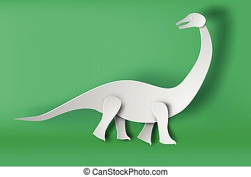 paper art of Apatosaurus dinosour on green background vector