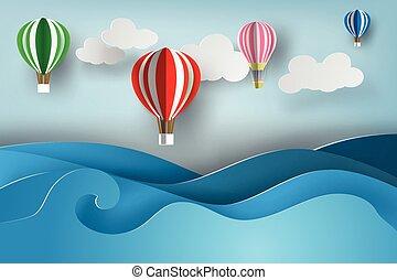 paper art of ballon on sea view, vector, summer