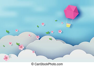 Paper art of balloon on blue sky background,vector