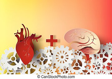 paper art of brain and heart with gear concept idea,vector,business