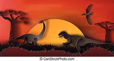 Paper art of Dinosaur in forest with sunset,orange,night,vector,illustration