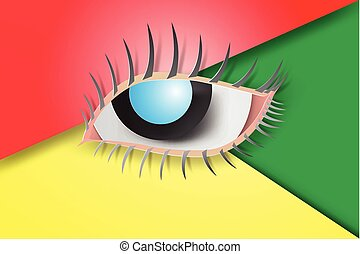 paper art of Eyes blue with colorful background, vector