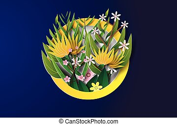 Paper art of flower  in circle,blue,yellow,vector,illustration
