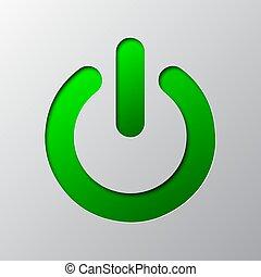 Paper art of green power button. Vector illustration.