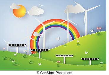 Paper art of Green Wind Turbine Solar Energy Panel World Environment Day,Natural Green forest Landscape,vector