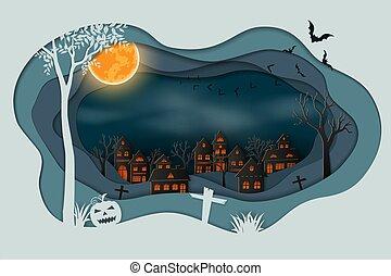 Paper art of happy halloween,Bats flying in the sky above dark village background