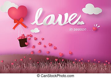Paper art of happy valentine day balloon flying over grass with heart float on the sky.