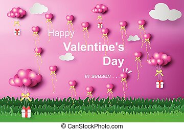 Paper art of happy valentine day heart balloon flying with gift over grass on the sky.