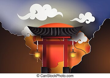 paper art of Japan gate with landscape travel  Landmarks at night fullmoon beautiful,torii,vector,cut