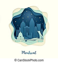 Paper art of Montreal. Origami concept.