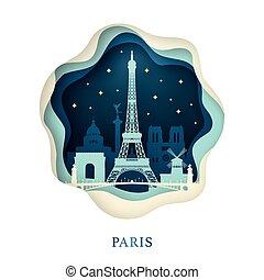 Paper art of Paris. Origami concept.