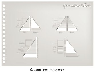 Paper Art of Population Pyramids Graphs with 4 Generation -...